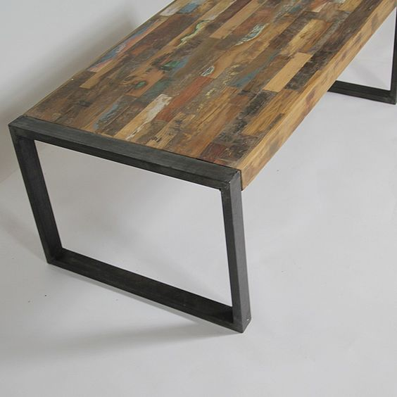 Table basse industrielle bois color et m tal petit mod le for Table basse teck et metal