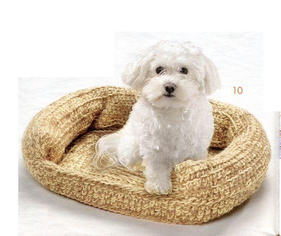 crochet dog bed pattern Crocheted Pet Bed Sofa Crochet ...