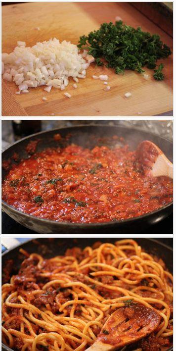 Easy, Semi-Homemade Meaty Bucatini - Ready in 30 minutes!