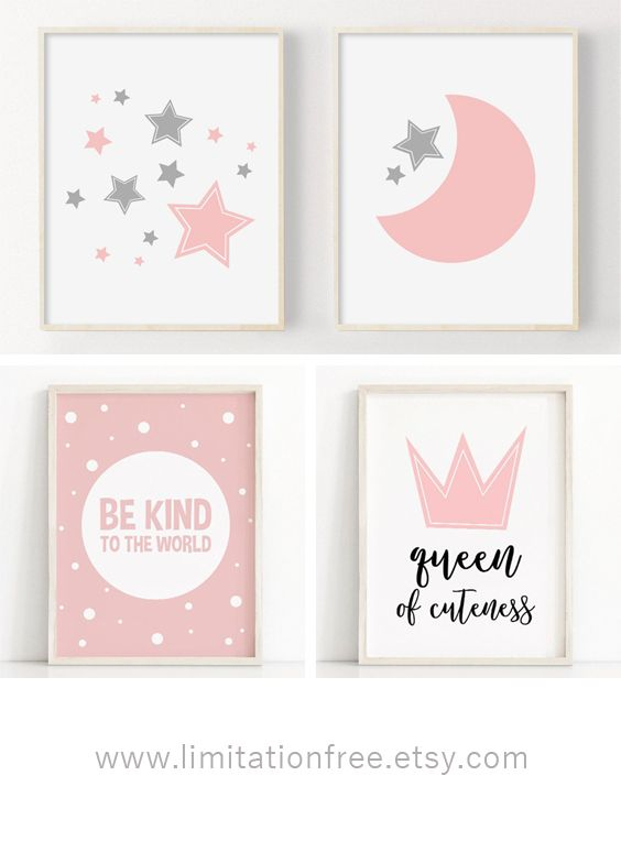 Moon And Stars Nursery Prints Printable Nursery Art Pink Etsy Nursery Wall Art Printable Pink Grey Nursery Decor Baby Wall Art