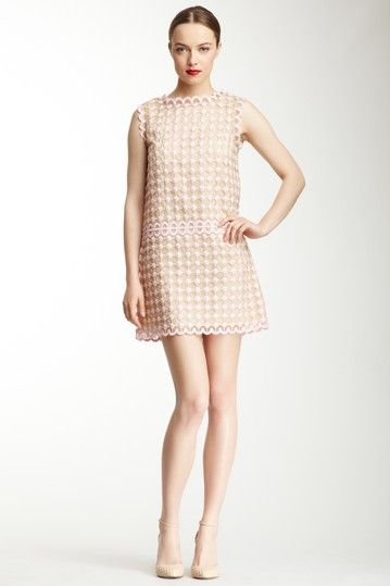 RED Valentino Silk Scalloped Embroidery Shift Dress