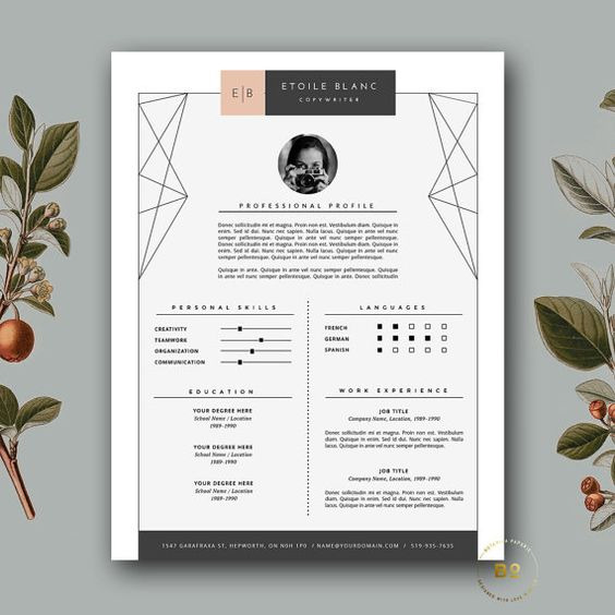 Modern Resume. This design is well laid out and illustrates design knowledge with the geometric designs fanned out in the corners. The margin is quiet large on this c.v with the main body of text set out within 3 grid, one at the top, and two beside each other