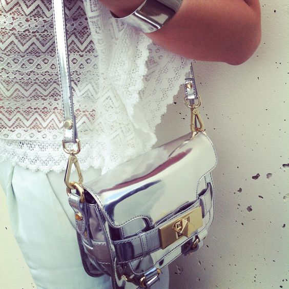 A good bag is as important as any other accessory | Metallic Zara Bag | Silver Cuff | Crochet Asos Top | Mint Green H&M Pants |