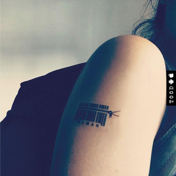 Human Barcode Temporary Tattoo