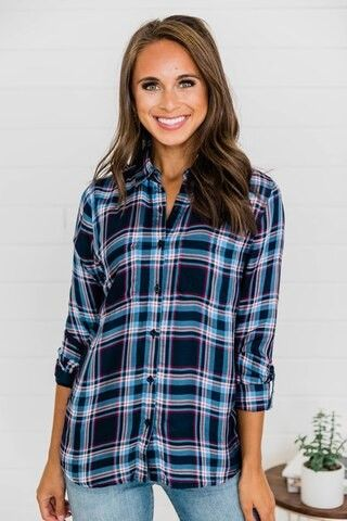 Home With You Navy Plaid Blouse