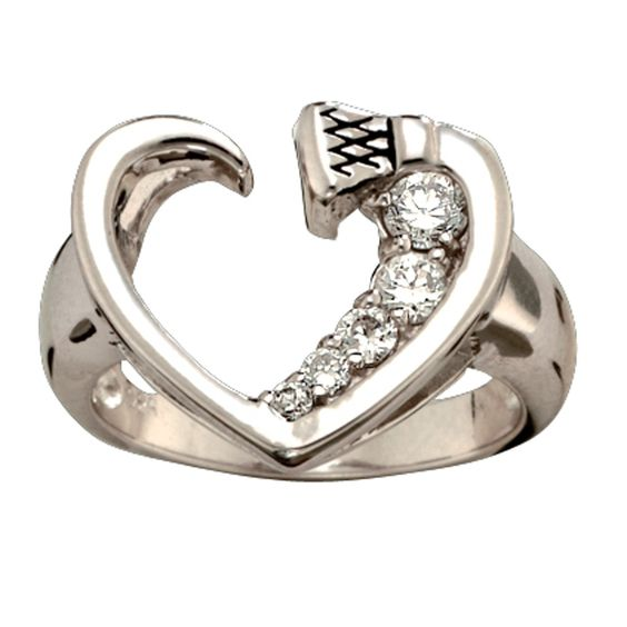 Size 9 - Silver and Shine Horseshoe Nail Heart Ring (RG30CZ-9) - Jewelry - Jewelry & Gifts | Montana Silversmiths