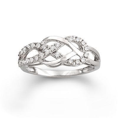 Two Hearts Forever One Sterling Silver 1/4-ct. T.W. Diamond Knot Ring