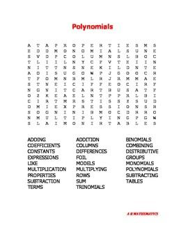 Worksheets Word Puzzle With Mathematical Term math term student and words on pinterest polynomials word search 26 terms to find in this puzzle