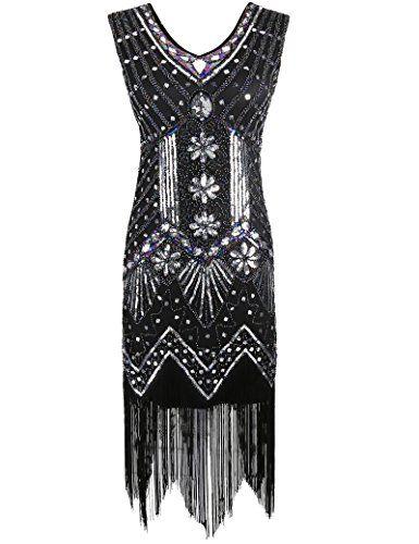 PrettyGuide Women 1920s V Neck Beaded Sequin Art Deco Gatsby Inspired Flapper…