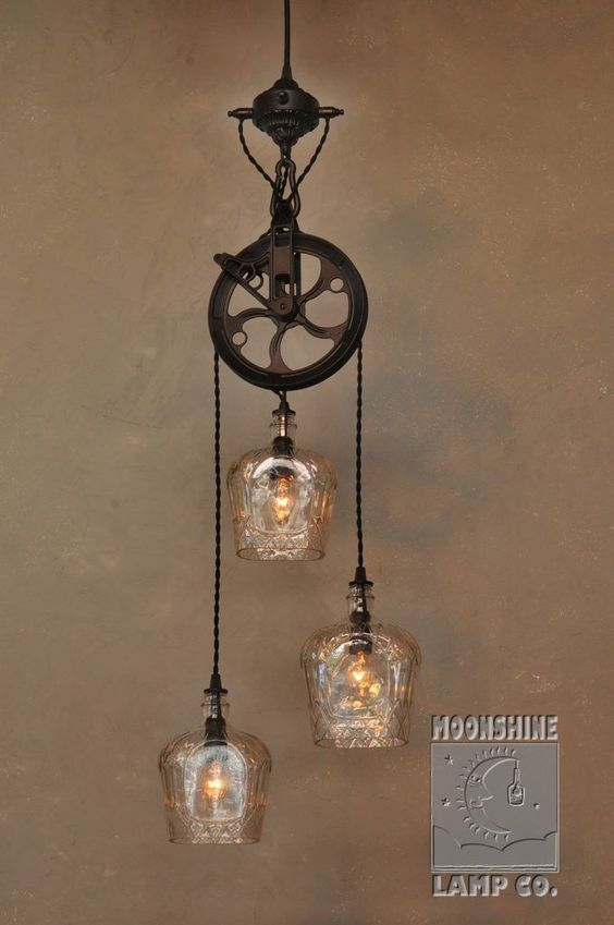3 Light Pulley Wheel Pendant Chandelier By Moonshine Lamp Co