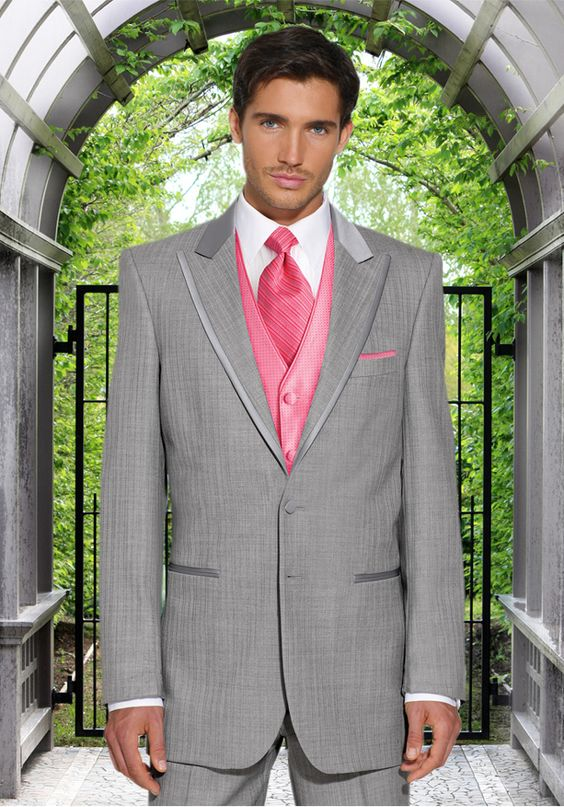 grey tux with pink vest --- This suit would be great with other