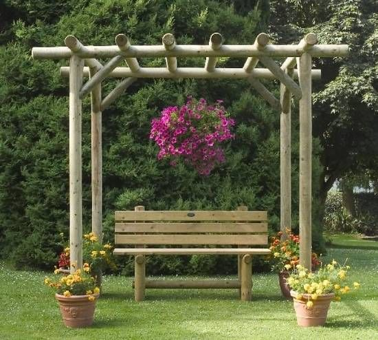 A charming rustic pergola kit manufactured from pressure for Rustic gazebo kits