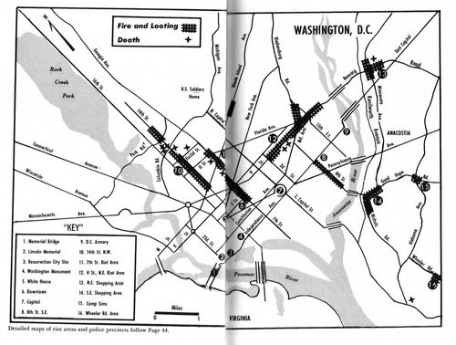 Map of 1968 riot April 1968 Washington DC 1968 Pinterest