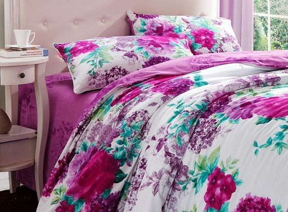 Luxury Purple and White Floral Bedding Set