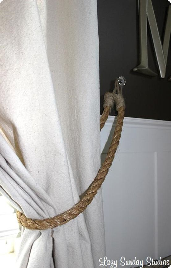 DIY Home Decor | How to Make Rope Curtain Tiebacks {Restoration Hardware knock off}: