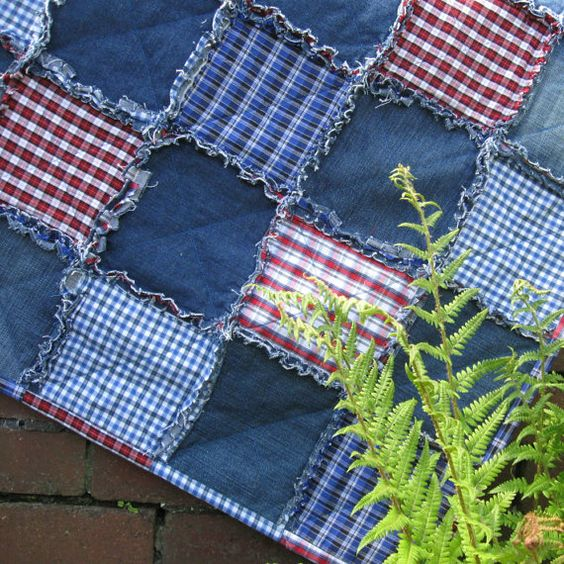 Patchwork Quilt or Rug  Recycled Denim Jeans Quilt ideas: