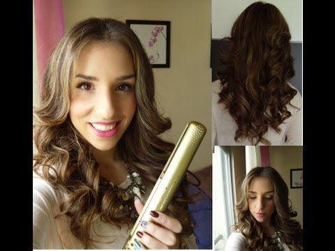 Como hacer rizos anchos con planchas muy facil hairstyle - Como realizar peinados ...