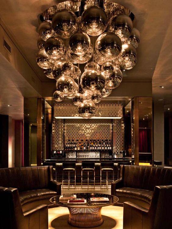 LOLA lobby (new york) by Gensler - Tom Dixon Mirror Ball pendant light  fixtures