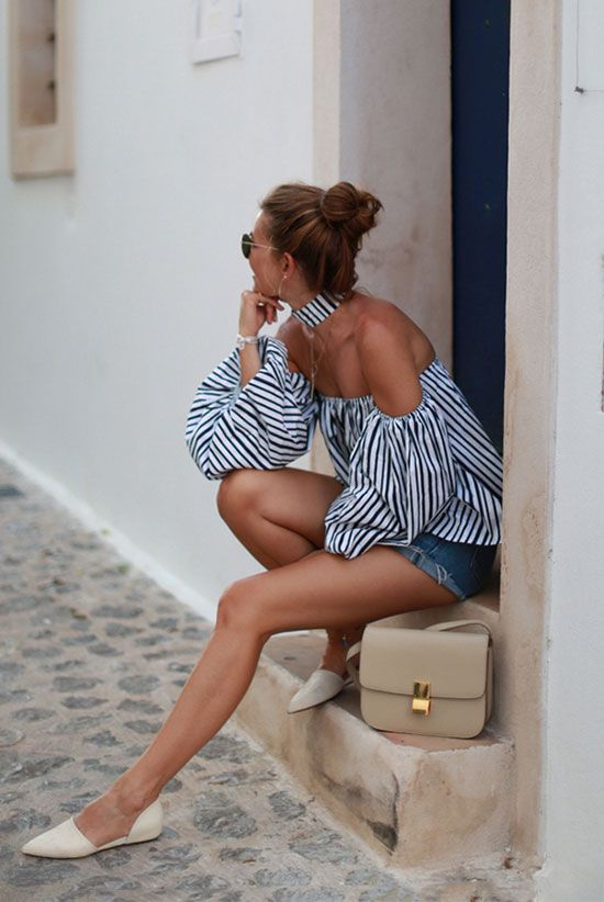 summer outfit, comfy outfit, casual outfit, night out outfit, summer getaway outfit, summer vacation outfit - stripe long sleeve off the shoulder top, distressed denim shorts, beige pointy flats, beige shoulder bag: