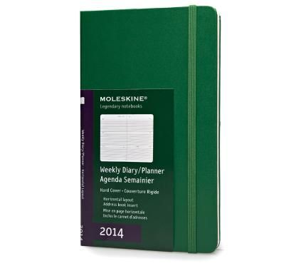 12 months - Weekly Planner Horizontal- Oxide Green hard cover - Large