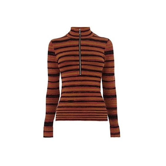 Karen Millen STRIPE ROLL NECK JUMPER (£105) ❤ liked on Polyvore featuring tops, sweaters, zip front sweater, jumper top, red sweater, red striped top und jumpers sweaters