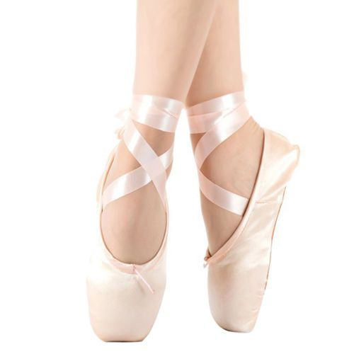 New Ladies Girls Professional Satin Ballet Pointe Shoes /& Ribbon Dance Toe Shoes