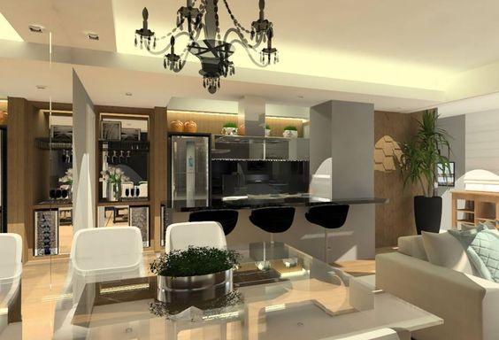 Projeto com salas de TV e de jantar integradas.
