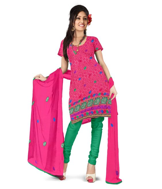 Loved it: Surat Tex Embroidered Pink Cotton Unstitched Suit With Dupatta, http://www.snapdeal.com/product/surat-tex-embroidered-pink-cotton/1425017597
