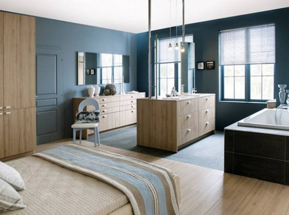 Salle de bains en bois schmitt http www m for Deco suite parentale avec salle bain