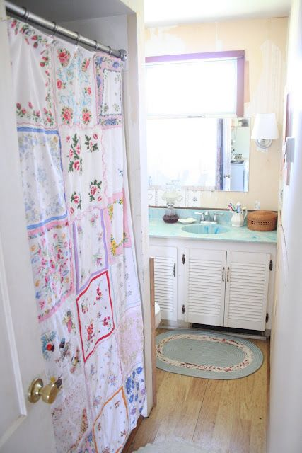 shower curtain made from hankies