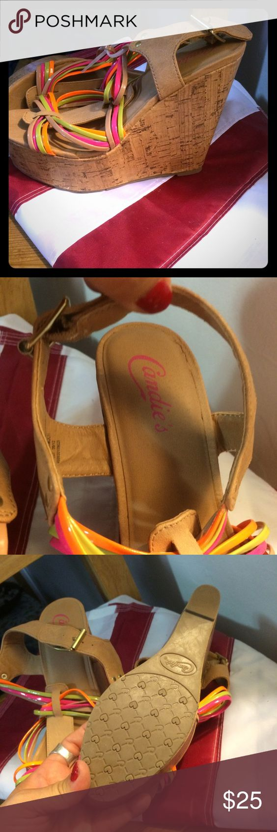 Brand new wedges by Candie's Beautiful wedges never worn, very colorful Candie's Shoes Wedges