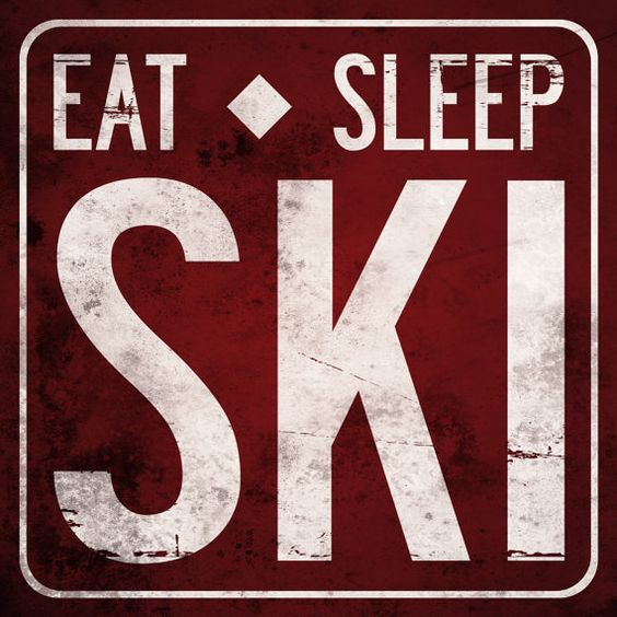 EAT SLEEP SKI Original Alpine Graphics Illustration on wood - made to order via Etsy