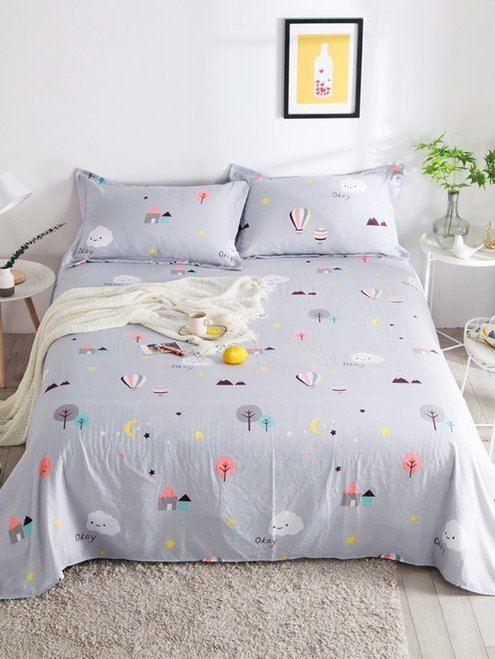Balloon Print Flat Sheet 1pc Duvet Cover Master Bedroom Bed Decor Bed Sheets