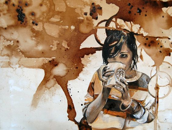 Artistic #Wallpaper Featuring Young Woman With a Cup of #Coffee