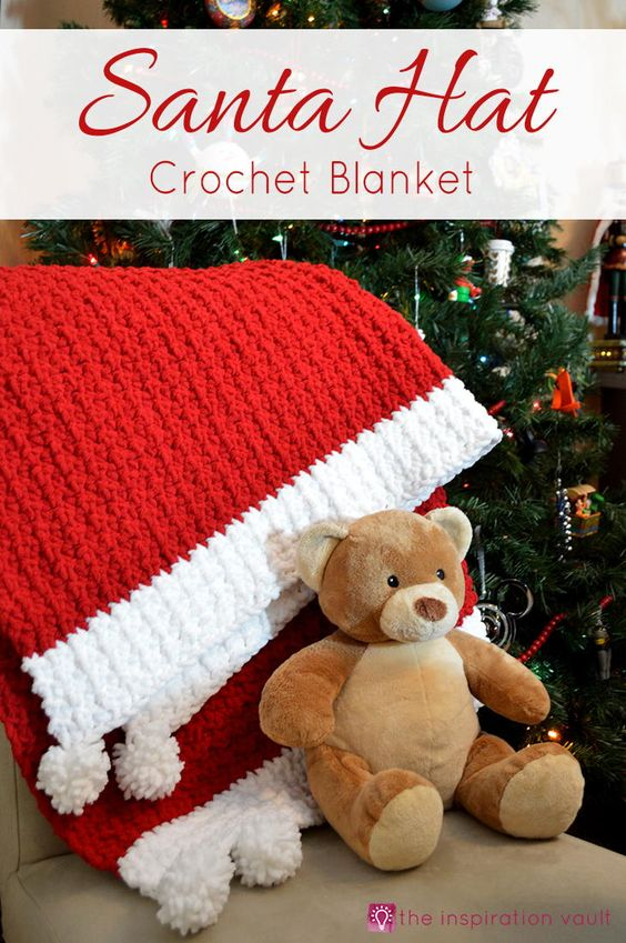Santa Hat Crochet Blanket | Perfect gfit for new baby!