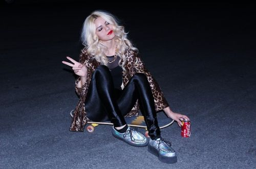 """therawin: """" Metallic creepers teamed with disco pants, leopard print and awesome blonde bombshell hair! Well done, Lookbook babe MICKYLENE D. """""""
