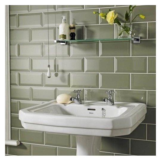 Bevelled Kitchen Wall Tiles: 10x20cm Metro Bevelled Brick Sage Tile Biselado Brillo
