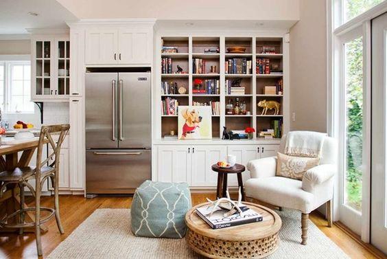 keeping room off open kitchen, cased-in fridge