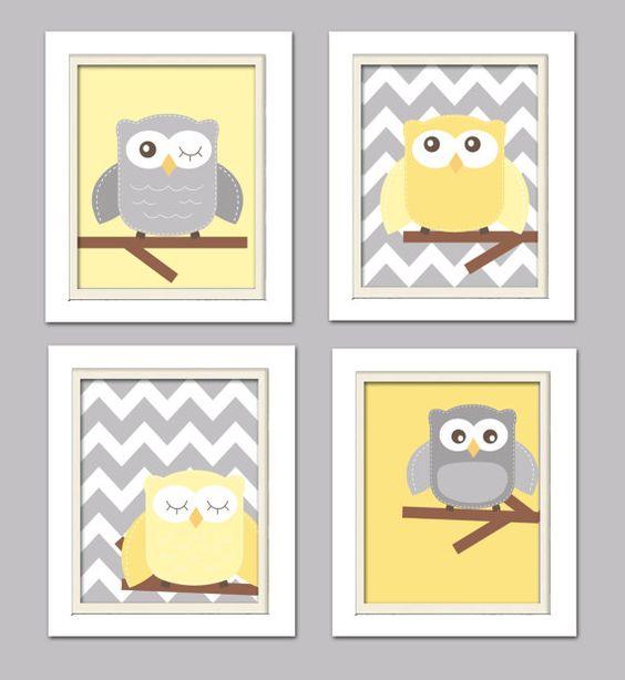 Chambre de bébé jaune et gris pépinière hibou Art par ChicWallArt