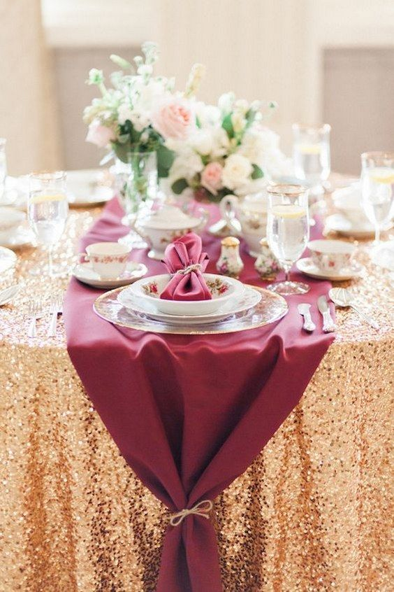 Marsala and gold wedding table decor / http://www.deerpearlflowers.com/burgundy-and-gold-wedding-ideas/: