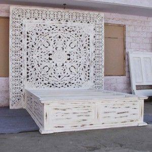 Dynasty Hand Carved Indian Solid Wooden Jody Bed Frame White Decoracion De Unas Decoracion Hogar Dormitorios