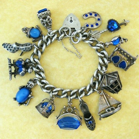 Vintage English Silver Charm Bracelet Rhapsody in Blue Gem Set Charms Two Nuvo: