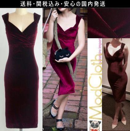 ★モドクロス modcloth 結婚式 ベルベット タイト ワンピース ドレス 2016 秋 ファッション