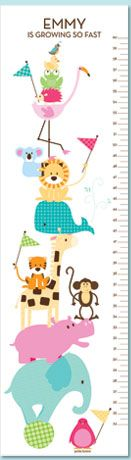 Zoo Friends Tickle Me Pink Personalized Growth Chart by Petite Lemon Prints. Frog, monkey, hippo — we've included all of her favorites in our Zoo Friends Animal Growth Chart. With a playful pile of animals all balanced atop a bouncy little ball, your little one is sure to enjoy spotting her favorite animals. Share in their joy while you capture her growth.