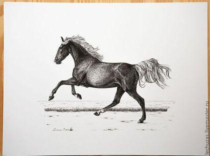 Купить Тушь Ганноверская. Серия Лошади. Рис. 2 - чёрно-белый, лошади, кони