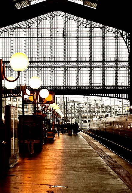 Gare du Nord ~ Paris, France.  I've been here...it is amazing, and very intimidating (if you don't speak the language!) ... and I add the police carrying automatics.