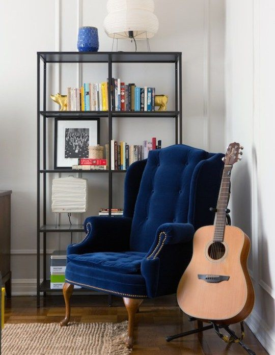 Blue Velvet Wingback Chair Wingbackchair Cool Funky Furniture