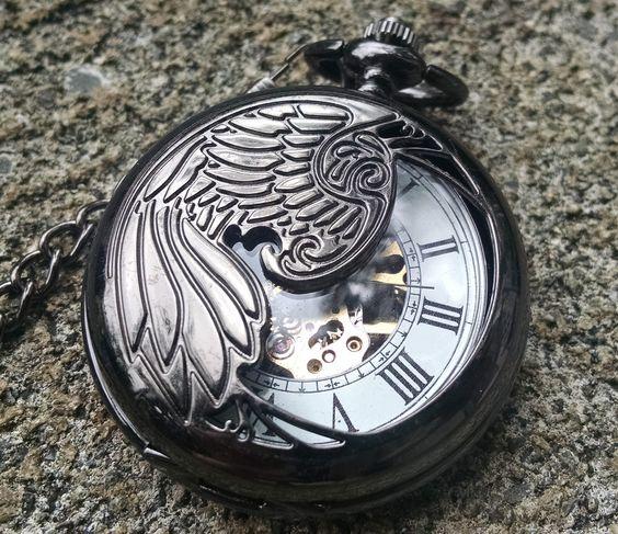 Black Mechanical Pocket Watch, Unique half hunter winged version.Free US shipping