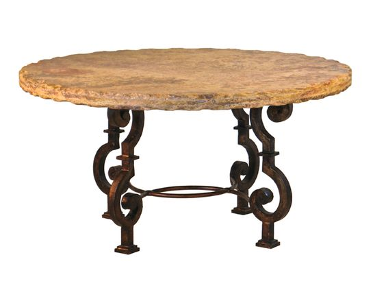 This Rustic Dining Table Starts With Thick Metalthe Raw Metal Is Cool Stone Top Dining Room Tables Decorating Design