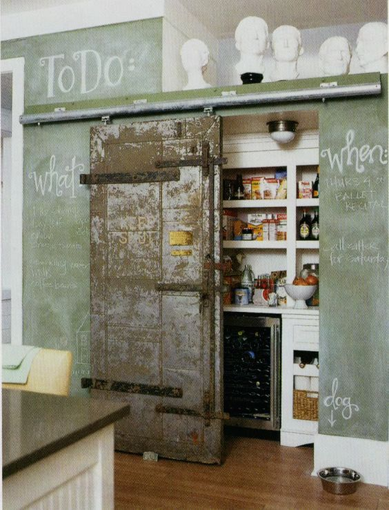 I want a chalkboard wall, and I love this door/pantry.